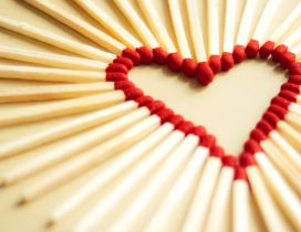 Red heart made from matches - Happy Valentines Day