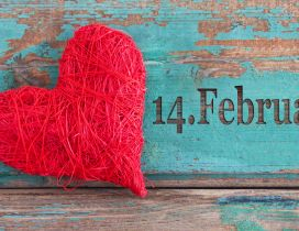 Big red heart on 14 February - Happy Valentines Day