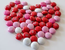 Red and pink chocolate candies - Happy Valentines Day