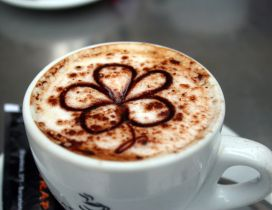 Spring flower in a cup of coffee - HD wallpaper