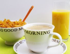 Good morning fresh breakfast - coffee juice and cereals