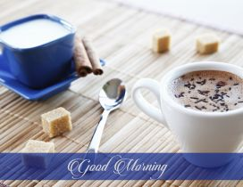 Delicious coffee and milk with cinnamon - HD wallpaper