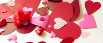 Paper red hearts and a wonderful rose - Happy Valentines Day