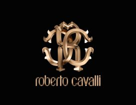 Luxury Roberto Cavalli Brand - Gold logo on the wallpaper