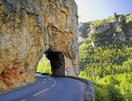 Road in a big rock - Wonderful nature landscape