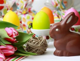 Sweet rabbit made of chocolate - Happy Easter Holiday