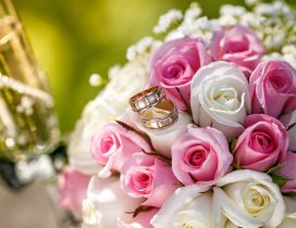 White and pink roses for a wonderful bridal bouquet