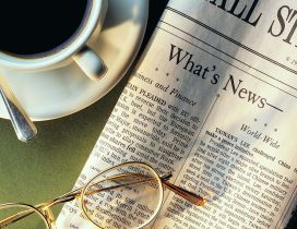 Hot coffee and News in the morning - HD wallpaper