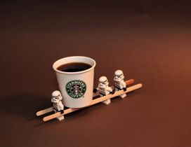 Little troupers from Star Wars and a dark Starbucks coffee