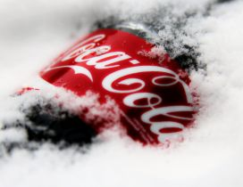 Bottle of Coca-Cola in snow - Delicious cold soda