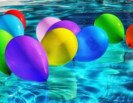 Colorful balloons in the pool - HD summer wallpaper