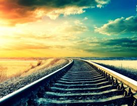 Summer sunset over the rails - HD wallpaper