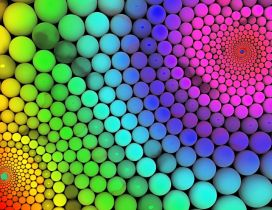 Millions of colorful balls - Rainbow on the wall