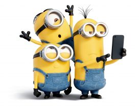 Three crazy minions make a selfie - Funny cartoon characters