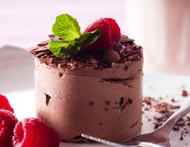 Ice chocolate cake with raspberries and mint - HD wallpaper