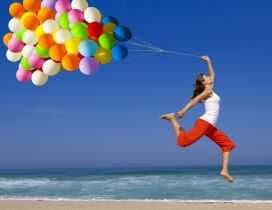 Flying with the colorful balloons - HD summer holiday
