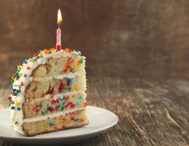 Delicious piece of birthday cake - HD wallpaper