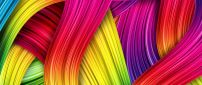 Colorful hair on the wall - Creative wallpaper