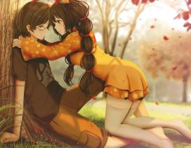 Anime Romance in the park - Autumn season