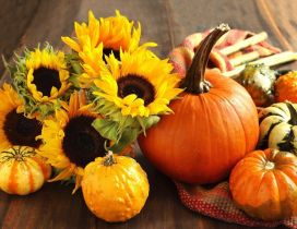 Sunflowers and pumpkins - Halloween party