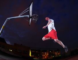 Man play basketball in the night - Wonderful sport wallpaper