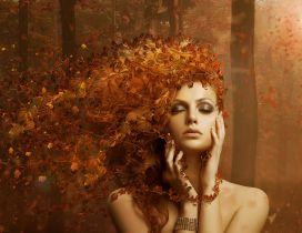 Autumn artistic wallpaper - Wonderful makeup and hair