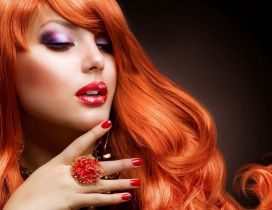Hot orange hair and beautiful makeup - HD wallpaper