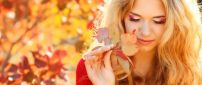 Wonderful makeup for a girl - Autumn nature time