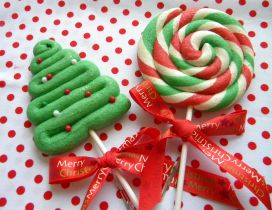 Happy winter holiday - Christmas candies on the stick