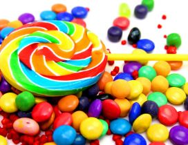 Lots of delicious colorful candies - Children love sweets
