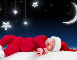 Small kid sleep and waiting for Santa Claus - Stars and moon