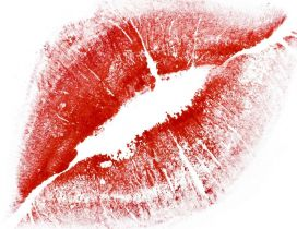Red lips on a piece of paper-Special gift for Valentines Day