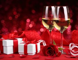 Champagne and two red boxes - Happy Valentines Day