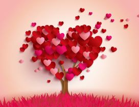 The tree of pure love made from hearts - Valentines Day