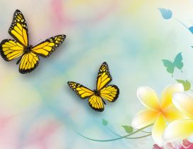 Yellow butterflies and beautiful flowers - Spring season