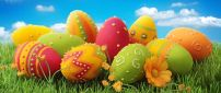 Beautiful painted Easter eggs on the grass - Happy Holiday