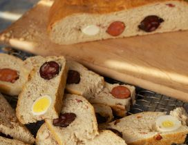 Bread with eggs and sausages - Delicious food