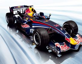 Fast race car on Formula 1 - Red Bull sponsor