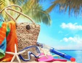 Summer staffs for a perfect holiday at the beach - Macro