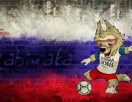 Fox mascot Fifa World Cup Russia 2018 - Flag on the wall