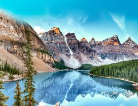Wonderful nature landscape - Mountains and blue water lake