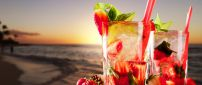 Delicious strawberry and mint cocktail at the beach