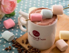 Hot chocolate and colorful marshmallows - Coffee time