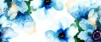 Blue wonderful abstract flowers - HD wallpaper