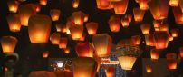 Wonderful flying candles on the sky