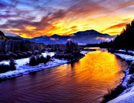 Cold mountain river in this beautiful Winter season