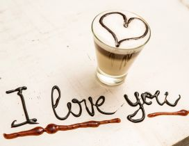 Delicious cream coffee - I love you message