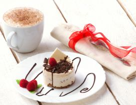 Enjoy a piece of cake with a delicious hot chocolate - Love