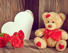 Chocolate, red rose and fluffy bear - Valentine's day