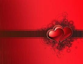 Two red hearts in one - Wonderful red wallpaper - Love time